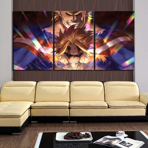 23187-NF My Hero Academia All Might 1 3 Pieces Anime - 5 Panel Canvas Art Wall Decor