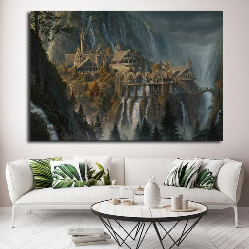 22528-NF Lord Of The Rings Lotr Rivendell Poster Movie 1 Piece - 1 Panel Canvas Art Wall Decor