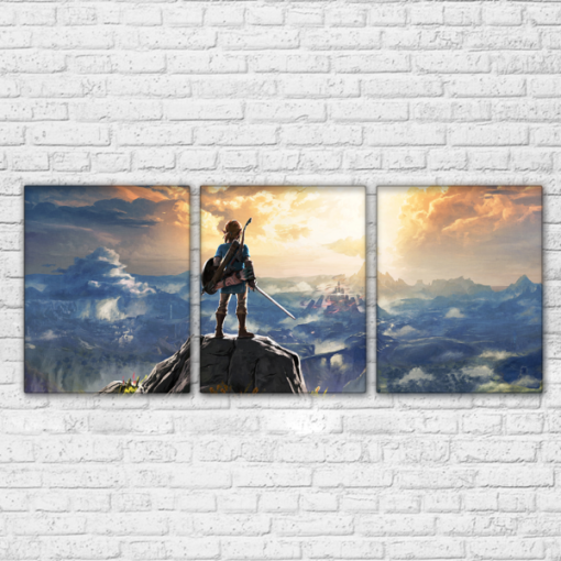 23182-NF Legend Of Zelda On The Mountain Gaming 3 Pieces - 3 Panel Canvas Art Wall Decor