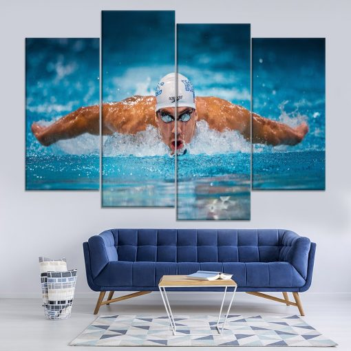 23172-NF Swimming Michael Phelps Sport 4 Pieces - 4 Panel Canvas Art Wall Decor