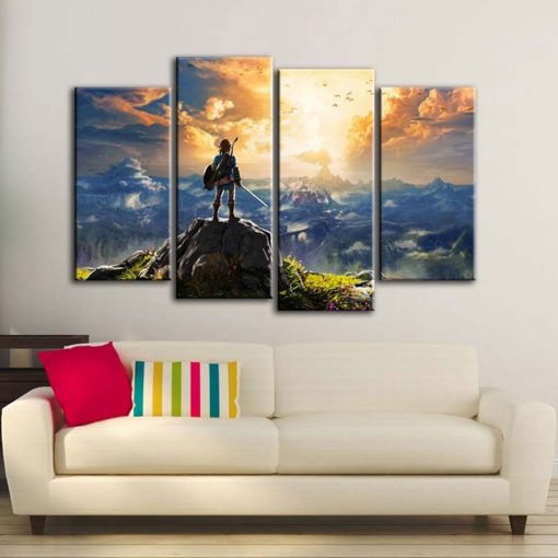 22529-NF The Legend of Zelda Sunset Shooting Abstract Gaming 4 Pieces - 4 Panel Canvas Art Wall Decor