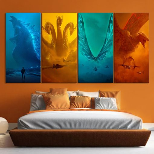 22786-NF Godzilla King Of The Monsters Godzilla Mothra Rodan King Ghidrah Monster 1 Movie 4 Pieces - 4 Panel Canvas Art Wall Decor