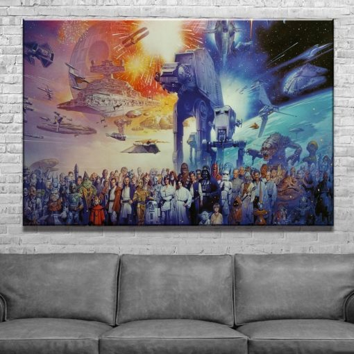 23167-NF Star Wars Characters Poster 1 Movie 1 Piece - 1 Panel Canvas Art Wall Decor