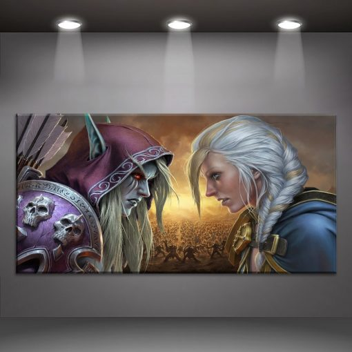 23178-NF World Of Warcraft Sylvanas Windrunner Jaina Proudmoore Gaming 1 Piece - 5 Panel Canvas Art Wall Decor