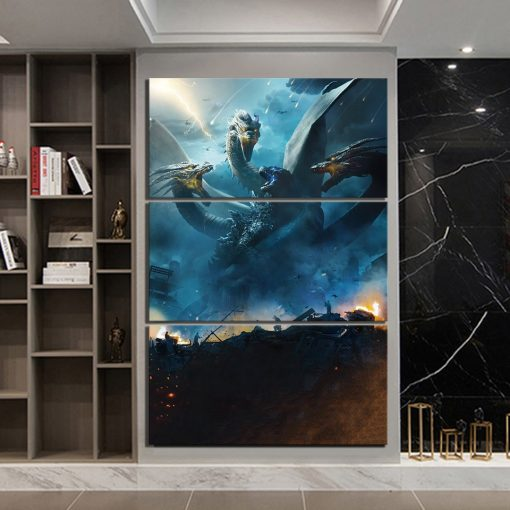 23075-NF Godzilla King Of The Monsters Ghidorah Monster Science Fiction Movie 3 Pieces - 3 Panel Canvas Art Wall Decor