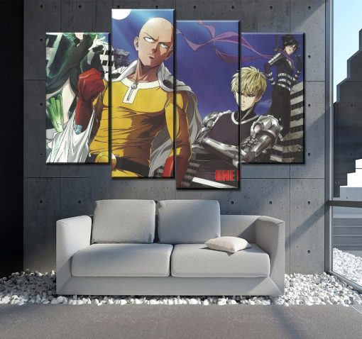 23179-NF One Punch Man Saitama And Genos Anime 4 Pieces - 4 Panel Canvas Art Wall Decor