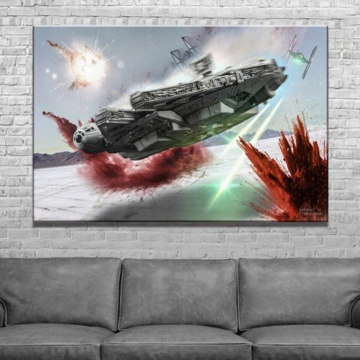 23168-NF Star Wars Millennium Falcon In The Battle Movie 1 Piece - 1 Panel Canvas Art Wall Decor