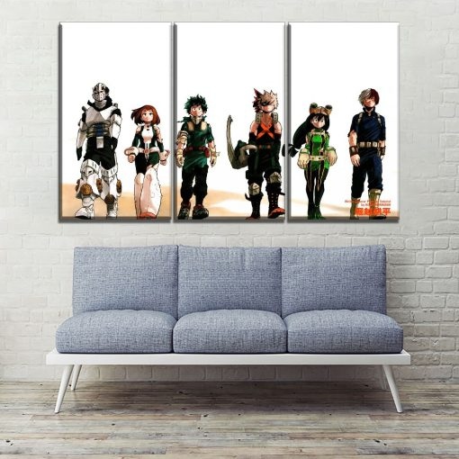 22834-NF My Hero Academia Characters 3 Anime 3 Pieces - 3 Panel Canvas Art Wall Decor