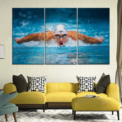 22828-NF Swimming Michael Phelps Sport 3 Pieces - 3 Panel Canvas Art Wall Decor