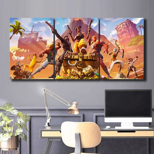 22835-NF Let's Fight Fortnite Gaming 3 Pieces - 3 Panel Canvas Art Wall Decor