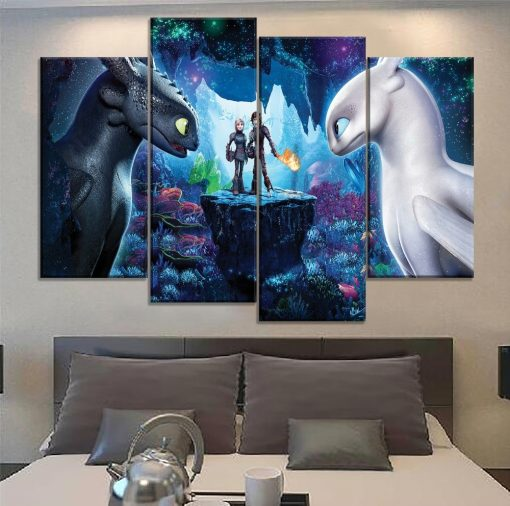 22655-NF How to Train Your Dragon 3 Toothless And Light Fury Movie 4 Pieces - 4 Panel Canvas Art Wall Decor