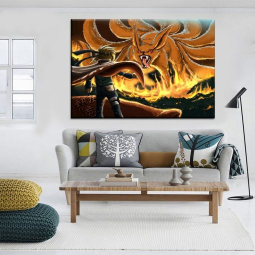 23169-NF Naruto Uzumaki And Nine Tails Kurama Anime 1 Piece - 1 Panel Canvas Art Wall Decor