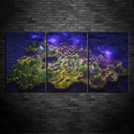 22257-NF Game Map Fortnite Gaming 3 Pieces - 3 Panel Canvas Art Wall Decor
