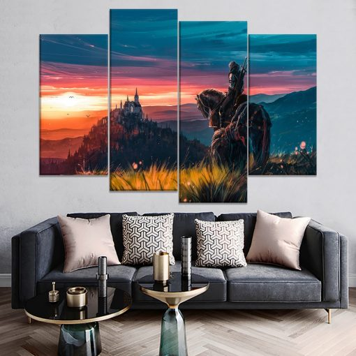 22832-NF The Witcher Wild Hunt Geralt of Rivia Gaming 4 Pieces - 4 Panel Canvas Art Wall Decor