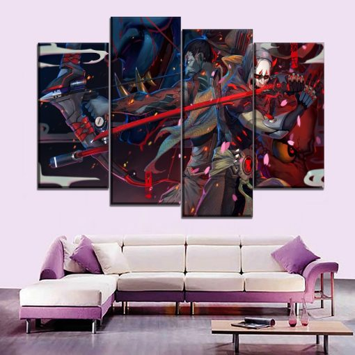 23180-NF Overwatch Genji And Hanzo Gaming 4 Pieces - 4 Panel Canvas Art Wall Decor
