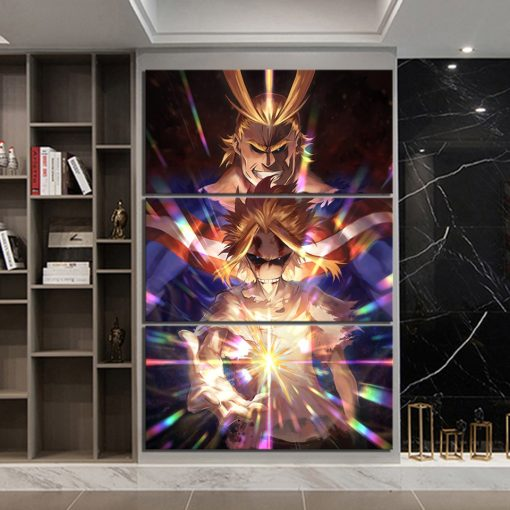 22837-NF My Hero Academia All Might 3 Pieces Anime - 5 Panel Canvas Art Wall Decor