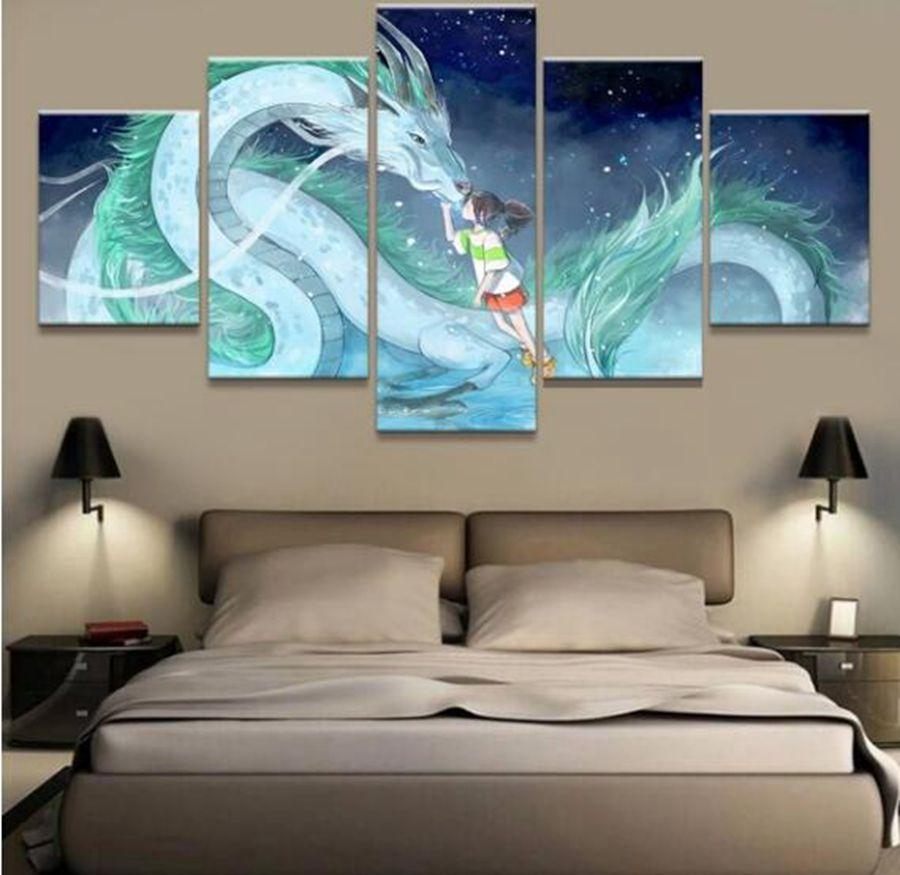 Spirited Away Haku And Chihiro Ogino 1 Anime 5 Panel Canvas Art Wall Decor Canvas Storm
