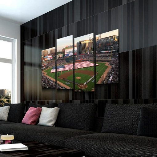 23117-NF Atlanta Braves Stadium Baseball 4 Pieces - 4 Panel Canvas Art Wall Decor
