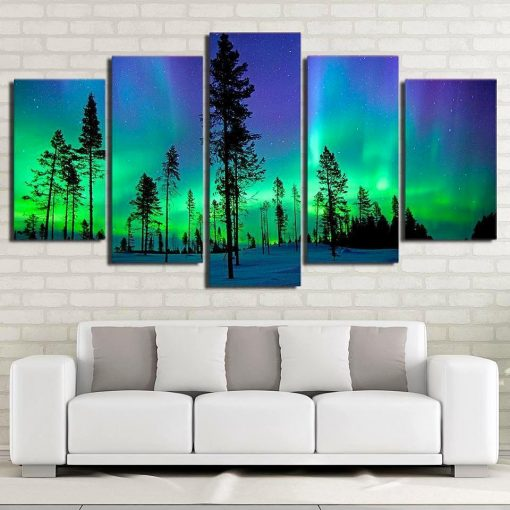 23588-NF Aurora Light Space Universe - 5 Panel Canvas Art Wall Decor
