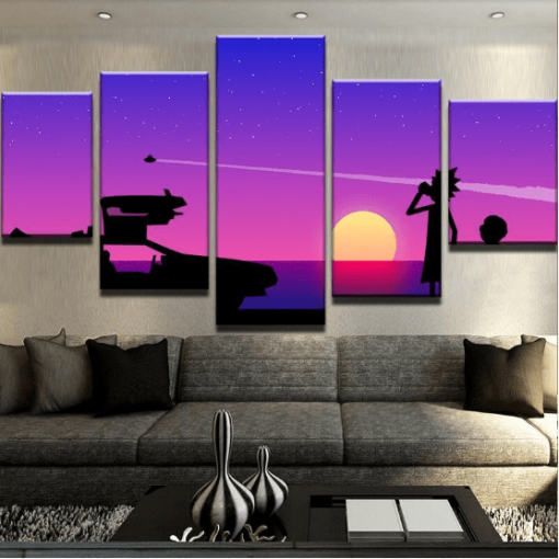 23577-NF Back To The Future Abstract Movie Cartoon - 5 Panel Canvas Art Wall Decor