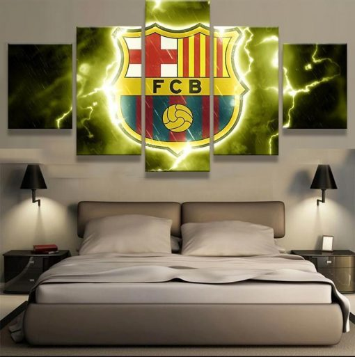 23576-NF Barcelona Thunder Logo Soccer - 5 Panel Canvas Art Wall Decor