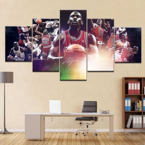 23581-NF Basketball Star Michael Jordan And Team Celebrity - 5 Panel Canvas Art Wall Decor