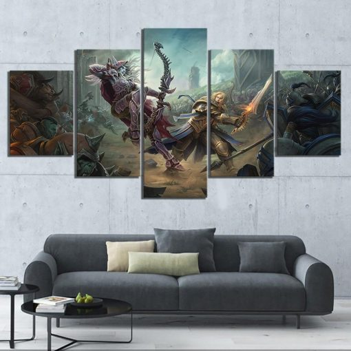 23584-NF Battle For Azeroth: Sylvanas vs Anduin World of Warcraft Gaming - 5 Panel Canvas Art Wall Decor