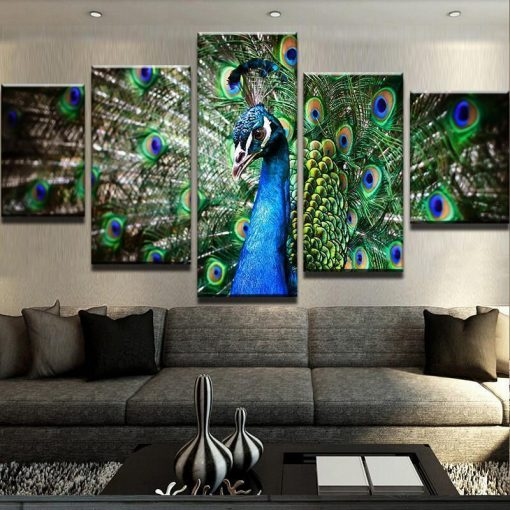 23587-NF Beautiful Peacock Animal - 5 Panel Canvas Art Wall Decor