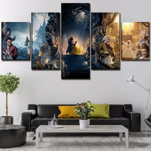 23578-NF Beauty And The Beast Dancing In The Castle Movie - 5 Panel Canvas Art Wall Decor