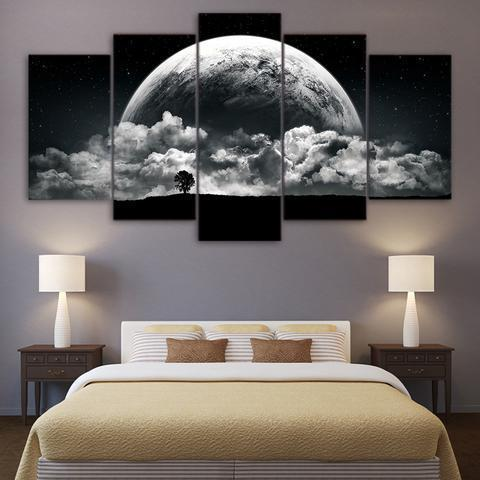 23572-NF Black And White Earth Nature - 5 Panel Canvas Art Wall Decor