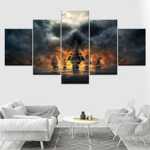 23561-NF Black Pearl Of Pirates Of The Caribbean Disney - 5 Panel Canvas Art Wall Decor