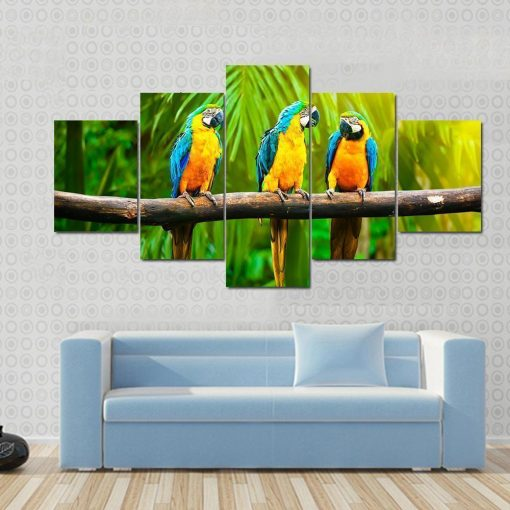 23567-NF Blue And Gold Macaw Animal - 5 Panel Canvas Art Wall Decor