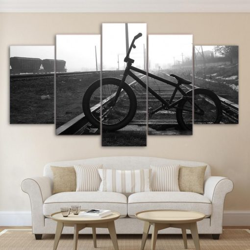 23575-NF BMX Bike On Train Tracks Sport - 5 Panel Canvas Art Wall Decor