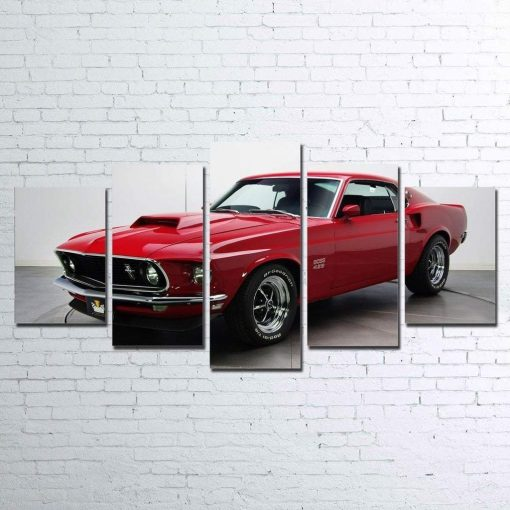 23574-NF Boss 429 Mustang Car & Motor - 5 Panel Canvas Art Wall Decor