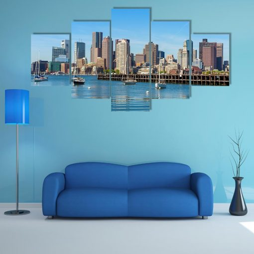 23573-NF Boston Skyline Seen From Piers Park Nature - 5 Panel Canvas Art Wall Decor