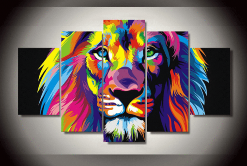 23570-NF Brilliant Lion Abstract And Animal - 5 Panel Canvas Art Wall Decor