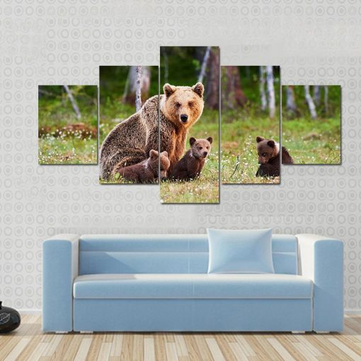 23569-NF Brown Mother Bear Protecting Her Cubs Animal - 5 Panel Canvas Art Wall Decor