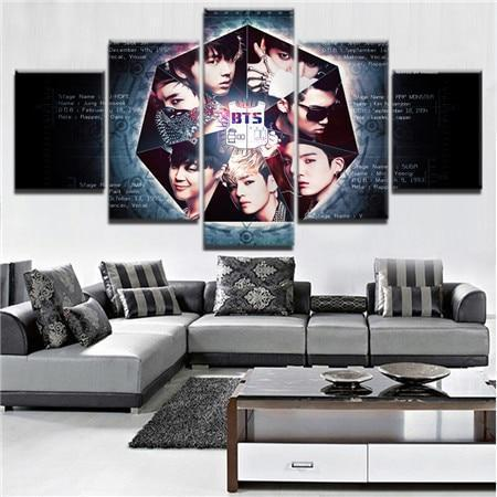 23568-NF BTS Band 8 Celebrity - 5 Panel Canvas Art Wall Decor