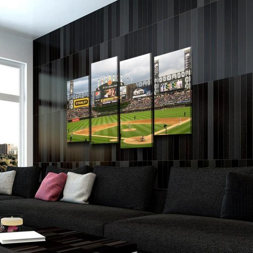 23119-NF Chicago White Sox Stadium Baseball 4 Pieces - 4 Panel Canvas Art Wall Decor