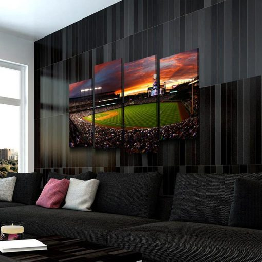 22532-NF Colorado Rockies Stadium Baseball 4 Pieces - 4 Panel Canvas Art Wall Decor