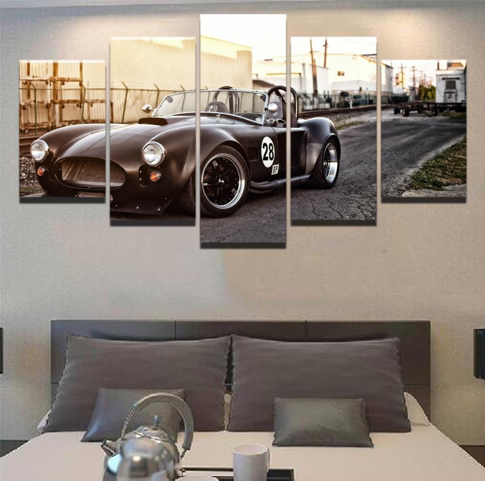 Ford Mustang Retro Black Sport Car & Motor – 5 Panel Canvas Art Wall Decor – Canvas Storm