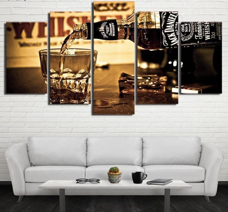 Framed Jack Daniels Tennessee Whiskey Poster 5 Pcs Canvas Print Wall Art Decor