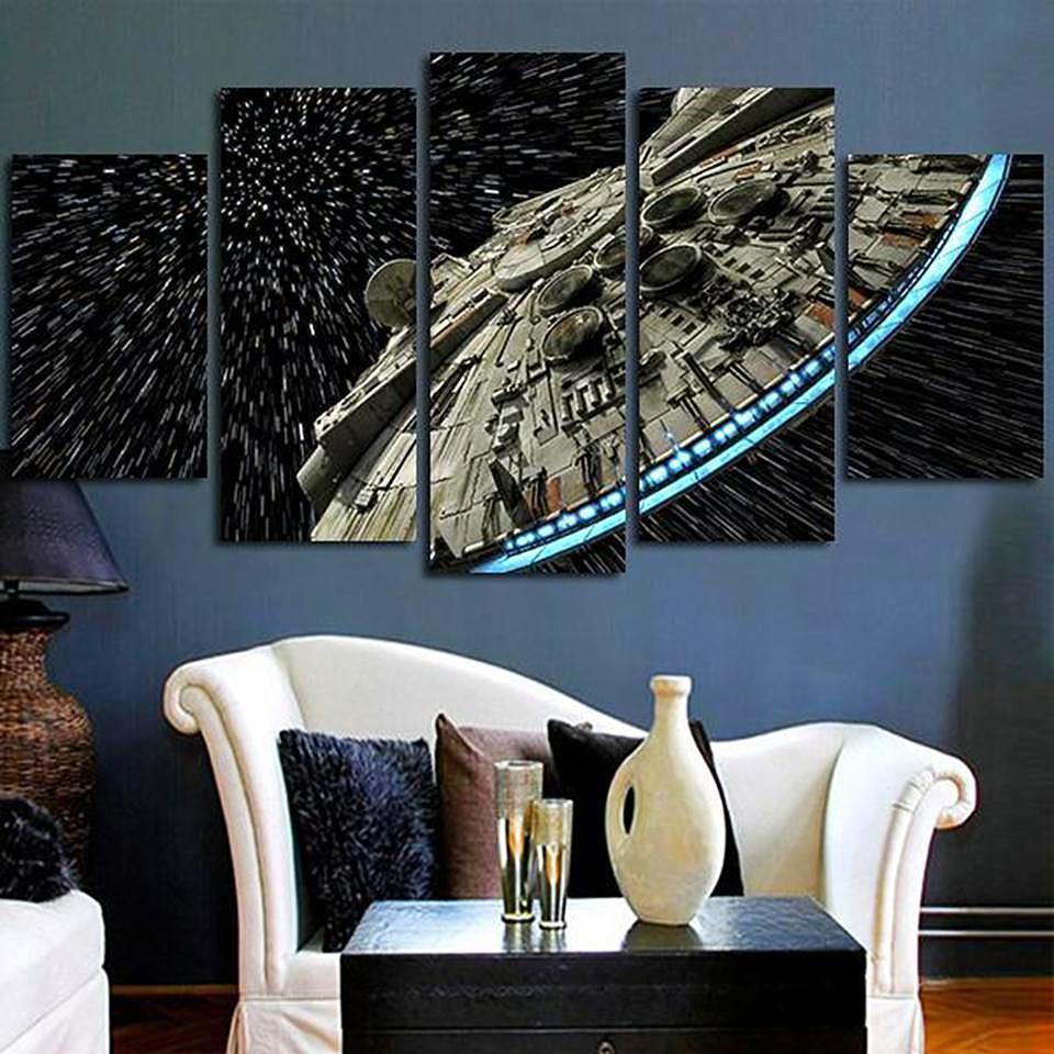 Star Wars Destroyer Millennium Falcon Canvas Printed Wall Art Pictures 5 Pcs