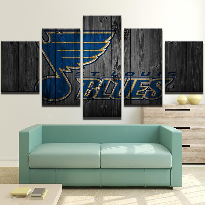 Louis Blues Hockey Five Piece Framed Canvas Multi Panel Home Decor Wall St